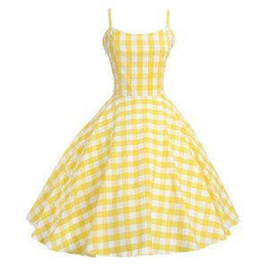 Yellow Gingham Pinup Retro Vintage Dress